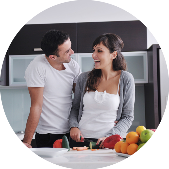 Happy couple in new kitchen